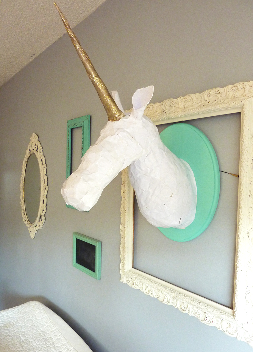 paper maché unicorn head
