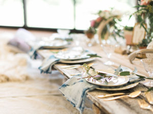 shibori hand dyed napkins | table styled by paige of the love designed lilfe