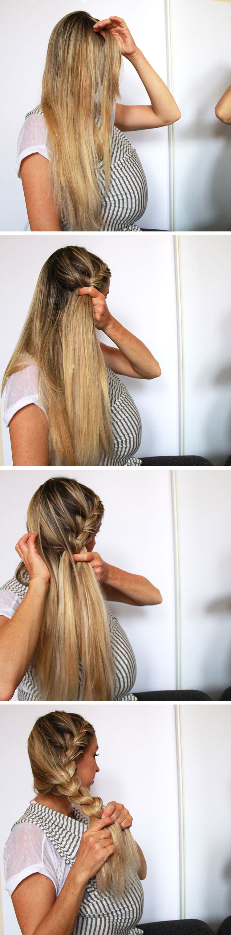 how to do a super chunky side french braid | the love designed life