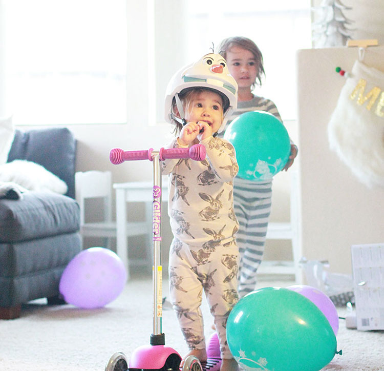 favorite present - a scooter and olaf helmet! | the love designed life