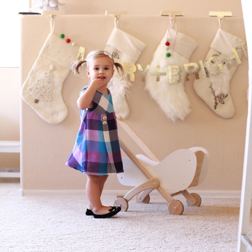 princess baby with her wooden doll pram | the love designed life