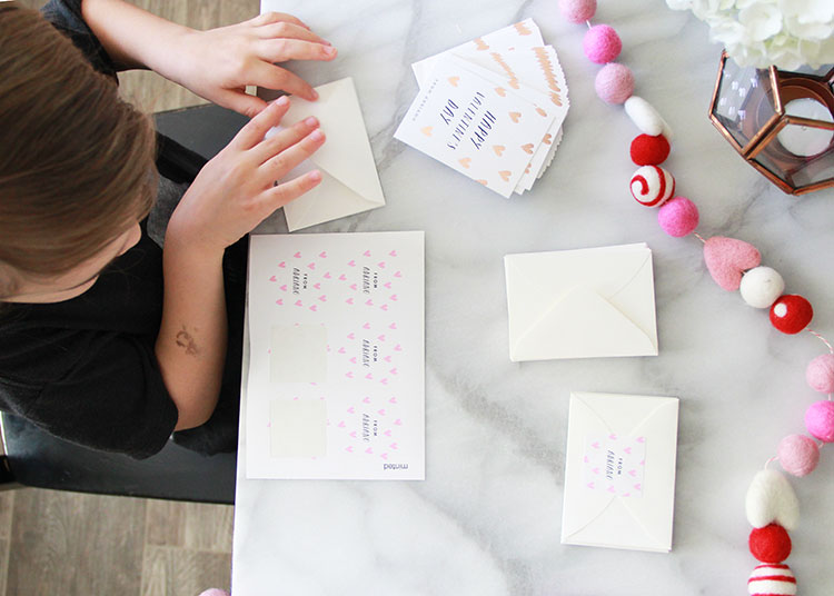 helping put together his valentine's from minted | the love designed life