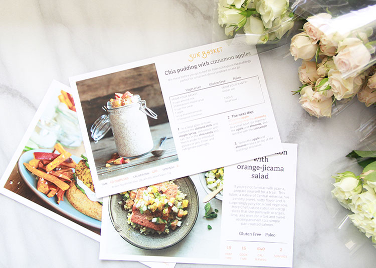 sun basket recipe cards. beautiful pictures and easy to read!   the love designed life