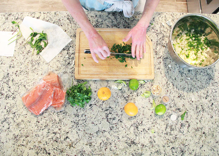 chopping for roasted salmon   the love designed life