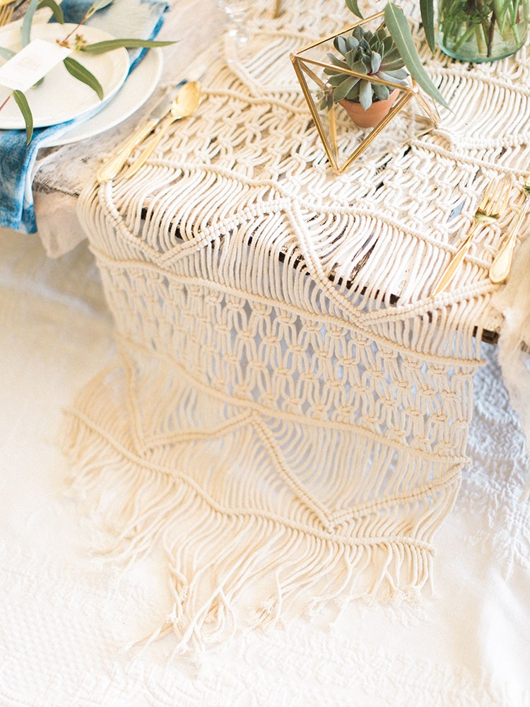 macrame table runner detail at a boho table setup for tables that bloom charity event| the love designed life