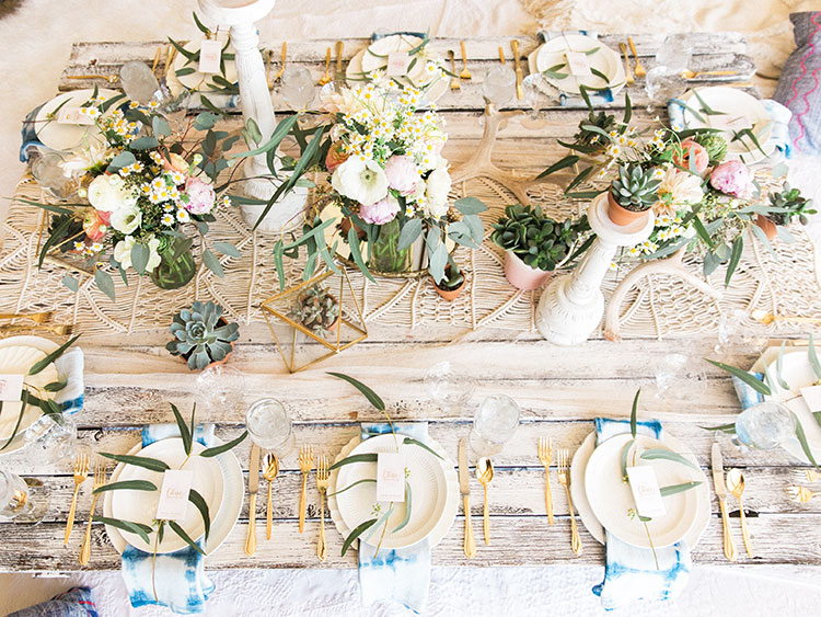 a boho festival tablescape for the tables that bloom charity event| the love designed life