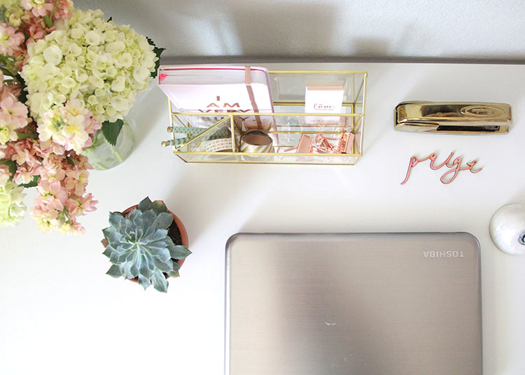 desk set up in a chic new office space | the love designed life