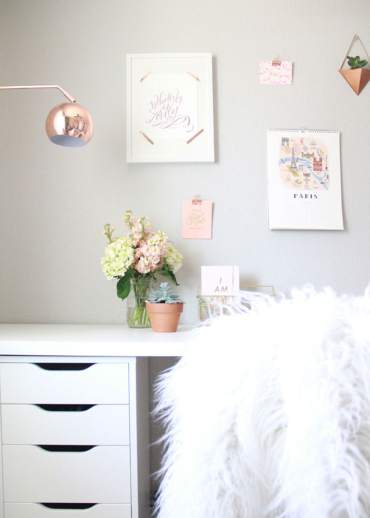 a feminine chic office setup | the love designed life