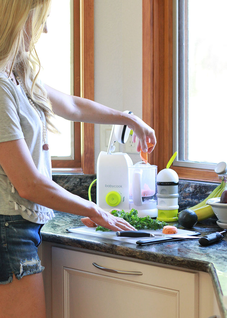 adding veggies into the beaba babycook for homemade babyfood | the love designed life