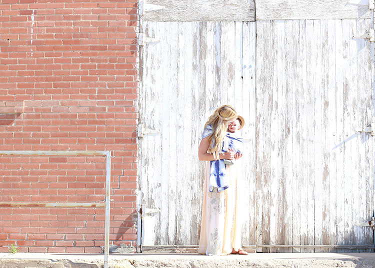 close enough to kiss. how stunning is this shibori dyed ring sling baby carrier? | the love designed life