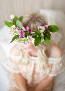 one of our custom fresh floral crowns for mother + child co pop-up sessions | the love designed life