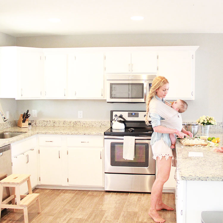 cooking made possible by babywearing and sunbasket delivery service | the love designed life