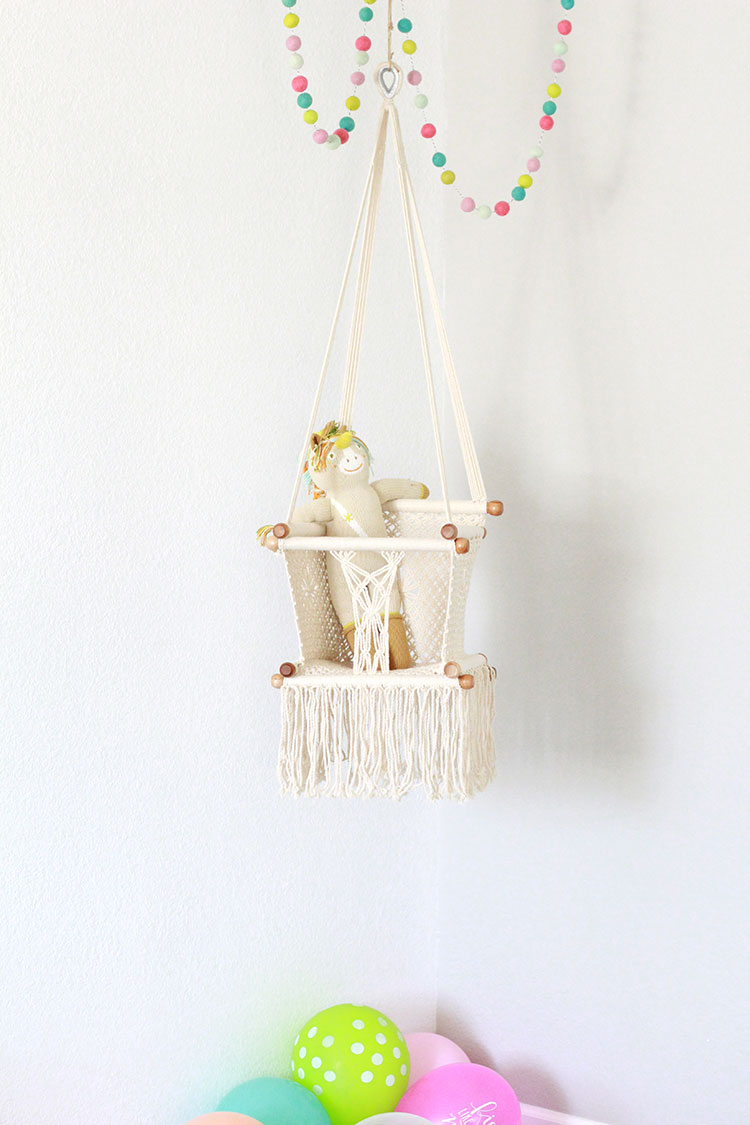 obsessed with our macrame baby swing and always loving these wooly felt balls by hooray everyday | the love designed life