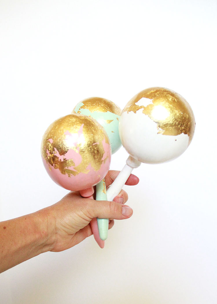 gold leaf DIY maracas by my friend @abubblylife for #diegosfirstfiesta | the love designed life