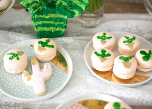 succulent hand painted macaroons and saguaro gold dipped sugar cut out cookies | styled by the love designed life