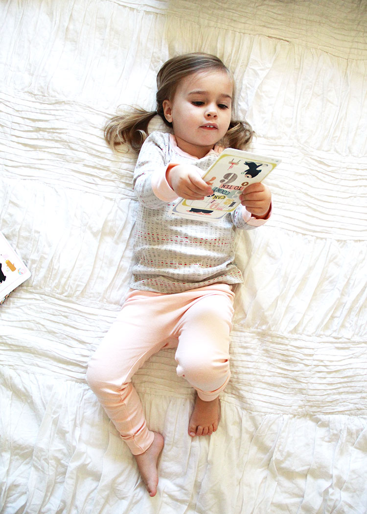 sweet girl in sweet organic cotton jammies | the love designed life