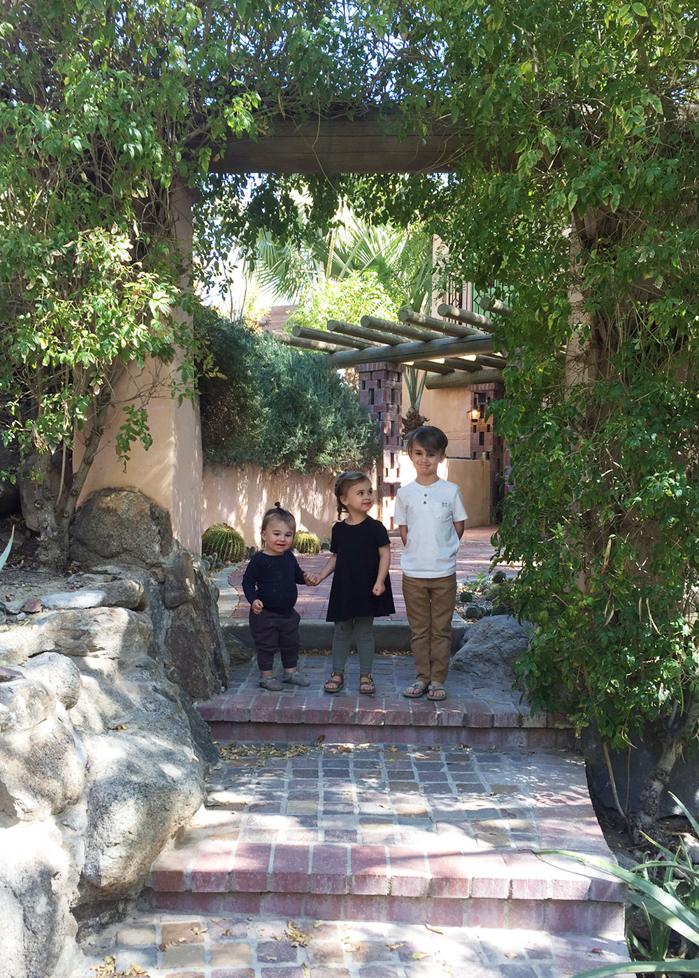 the kids at brunch at the cutest palm springs resort | thelovedesignedlife.com