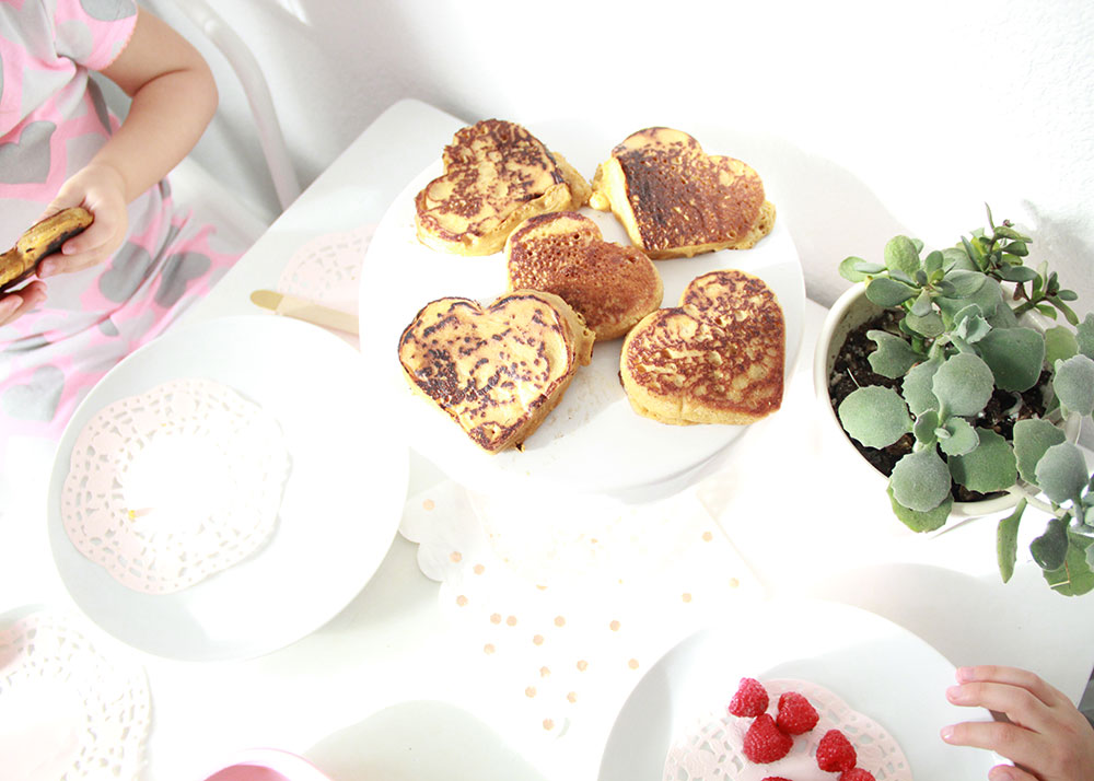 heart shaped pancakes for valentine's day. made with a cookie cutter! | thelovedesignedlife.com