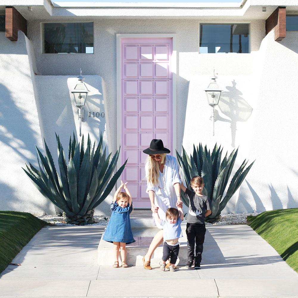 me + my crazy crew in front of #thatpinkdoor on our trip to palm springs, california | thelovedesignedife.com