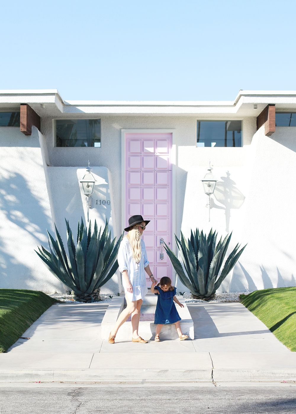 me + my girl in front of #thatpinkdoor in palm springs, california | thelovedesignedlife,cin