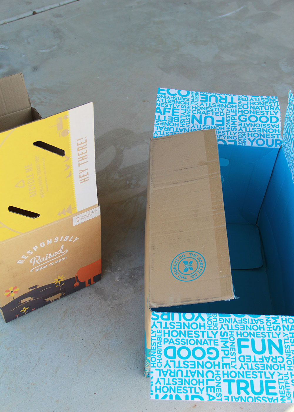 boxes from our regular deliveries, about to become a fun craft for the kids! | thelovedesignedlife.com