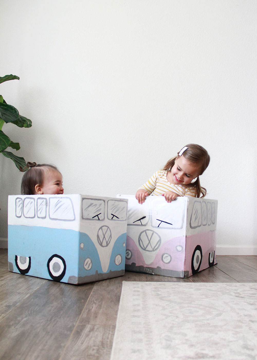 little vw bus box cars made from cardboard! | thelovedesignedlife.com