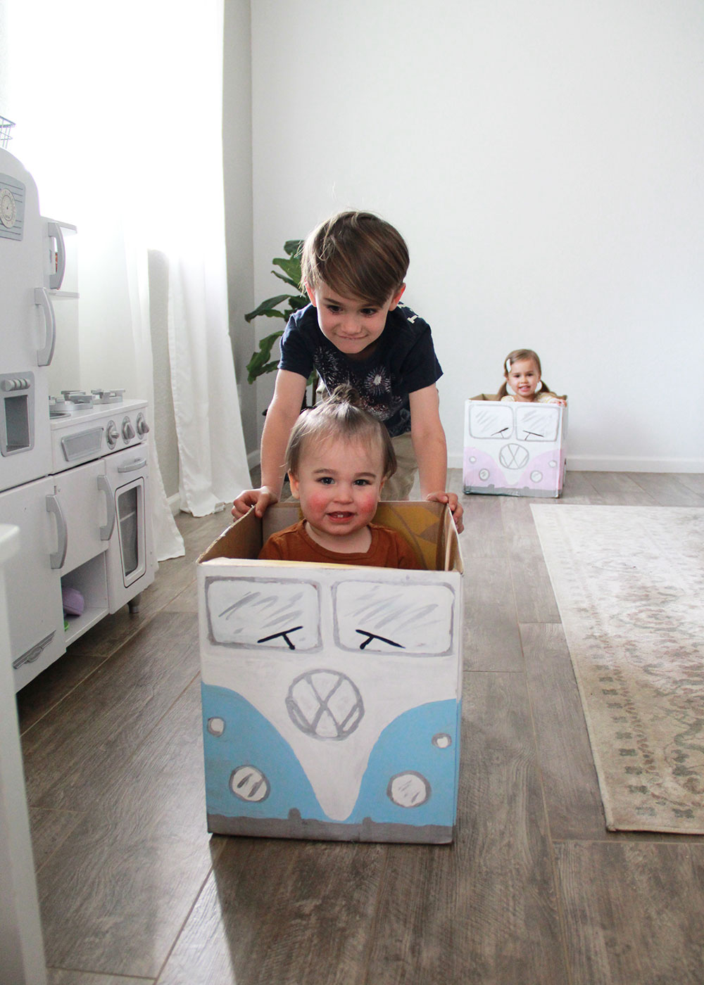 what a creative way to use an old cardboard box - a vw bus!   thelovedesignedlife.com