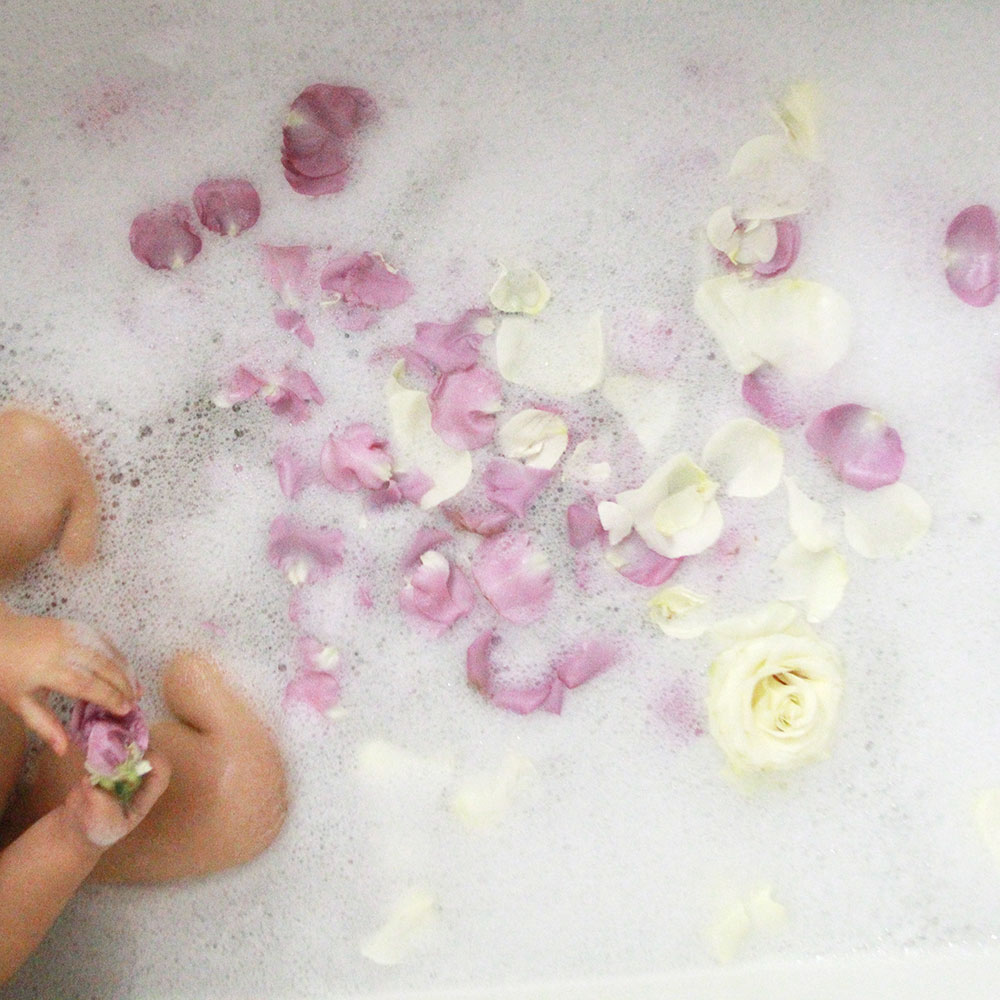 a pretty flower petal bath for my babies | thelovedesignedlife.com