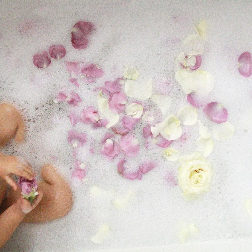 a pretty flower petal bath for my babies   thelovedesignedlife.com