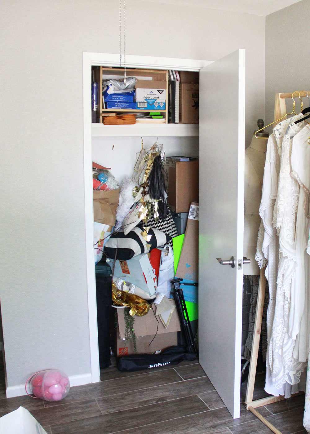 our embarrassingly messy spare closet: before spring cleaning