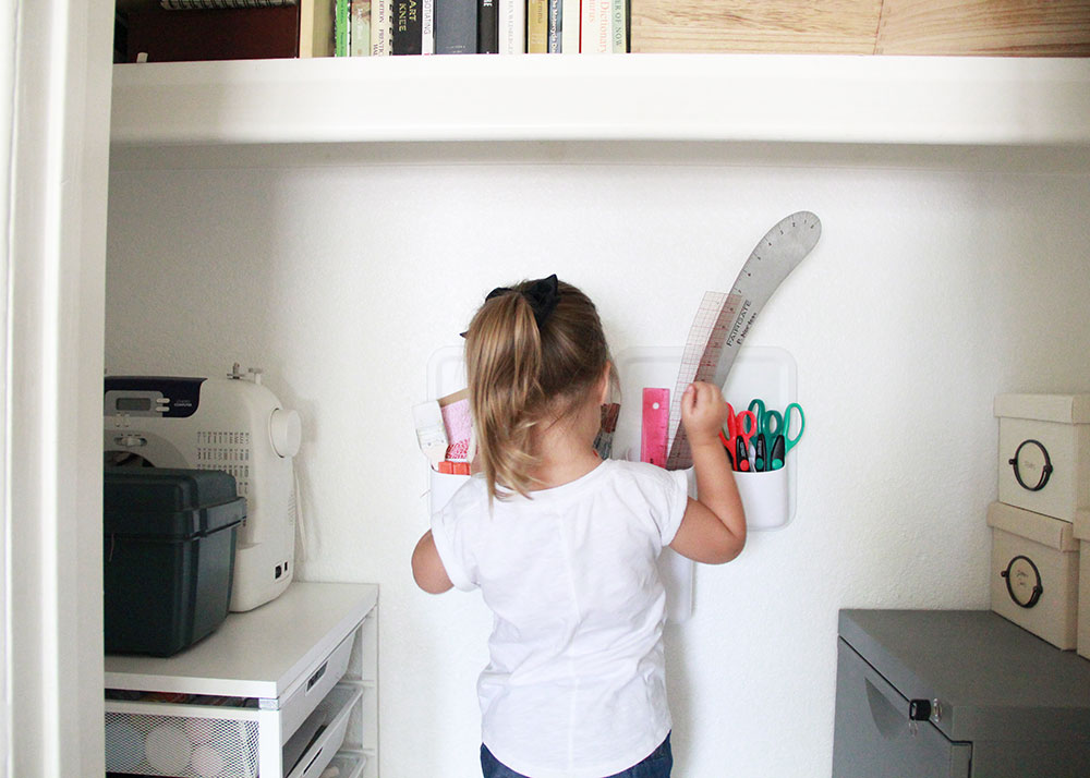 now she can reach her things in the craft closet. | thelovedesignedlife.com