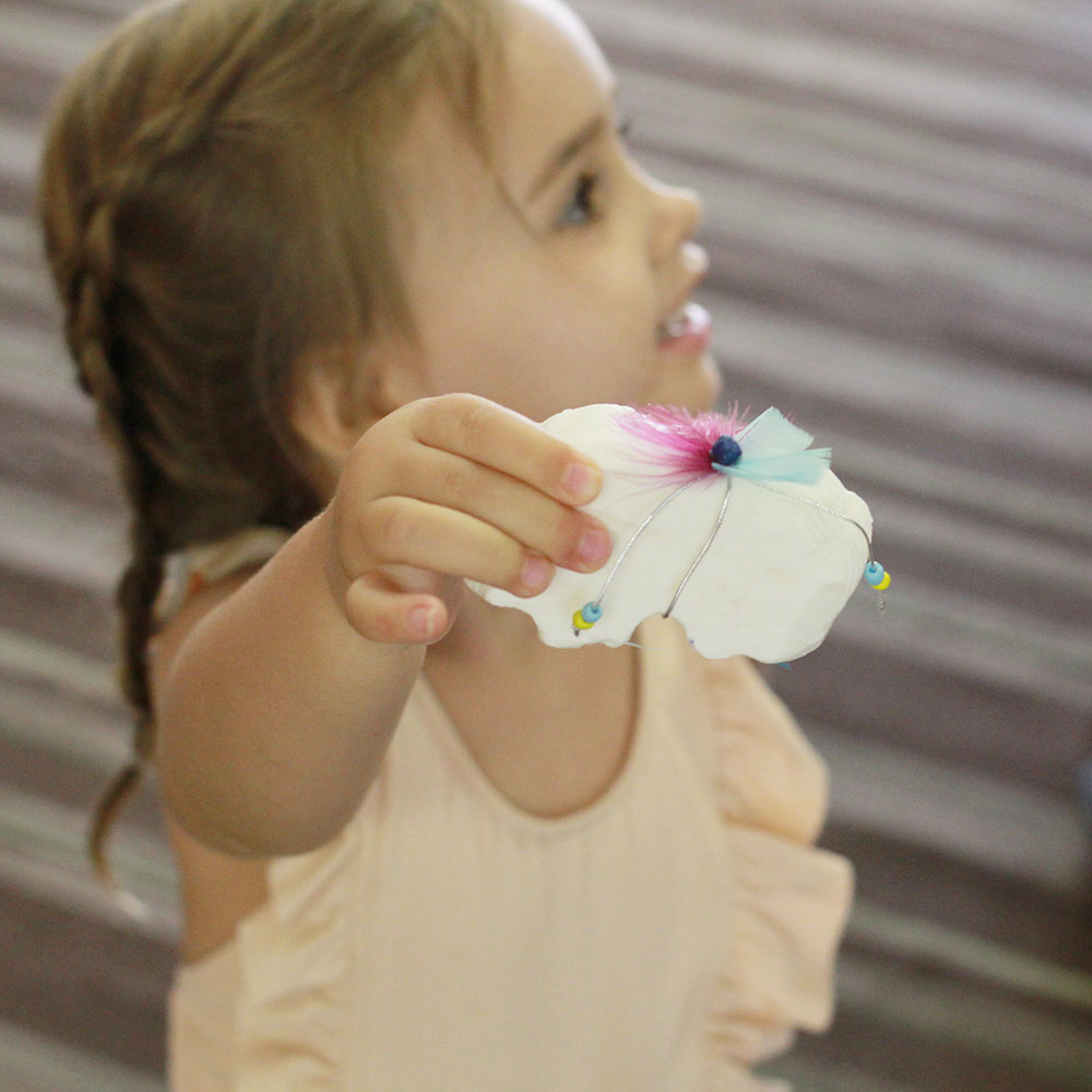 showing me what she carved out of soap at arts and crafts time! | thelovedesignedlife.com