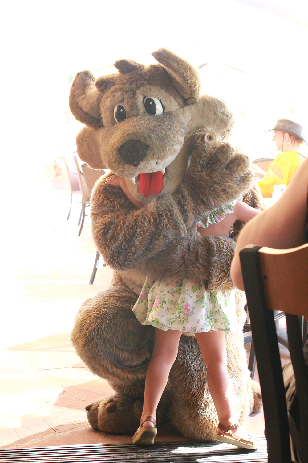 so excited to meet the resort mascot, yote the coyote | thelovedesighnedlife.com