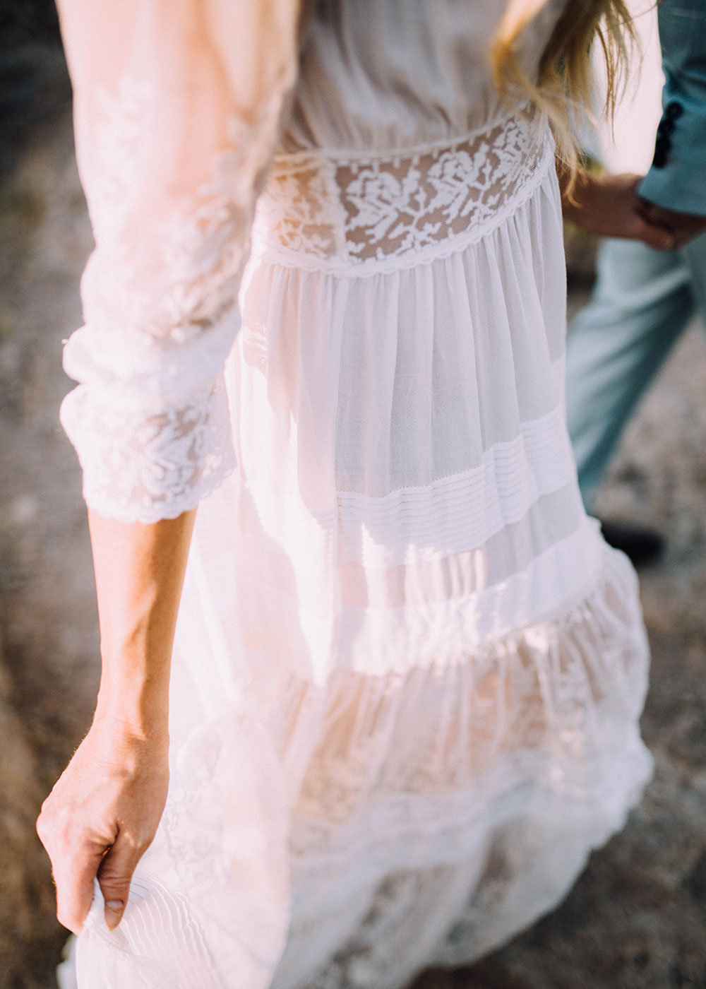 details of this the gorgeous boho wedding dress by spell from our 10 year anniversary photo session | thelovedesignedlife.com
