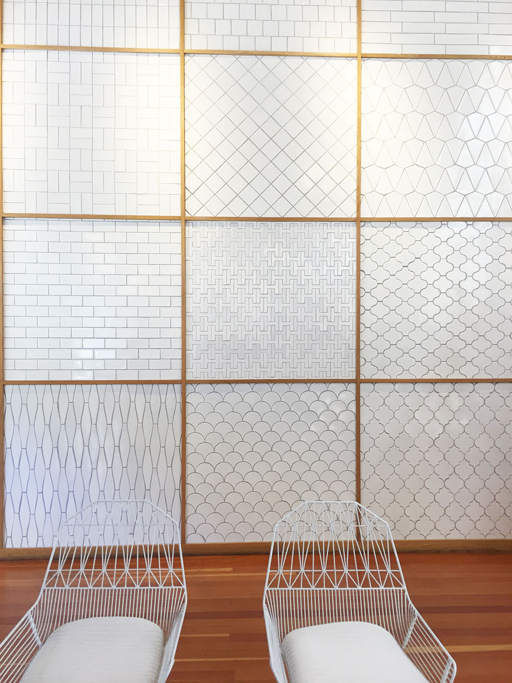 white tile wall of my dreams fireclay tile showroom in san francisco | thelovedesignedlife.com
