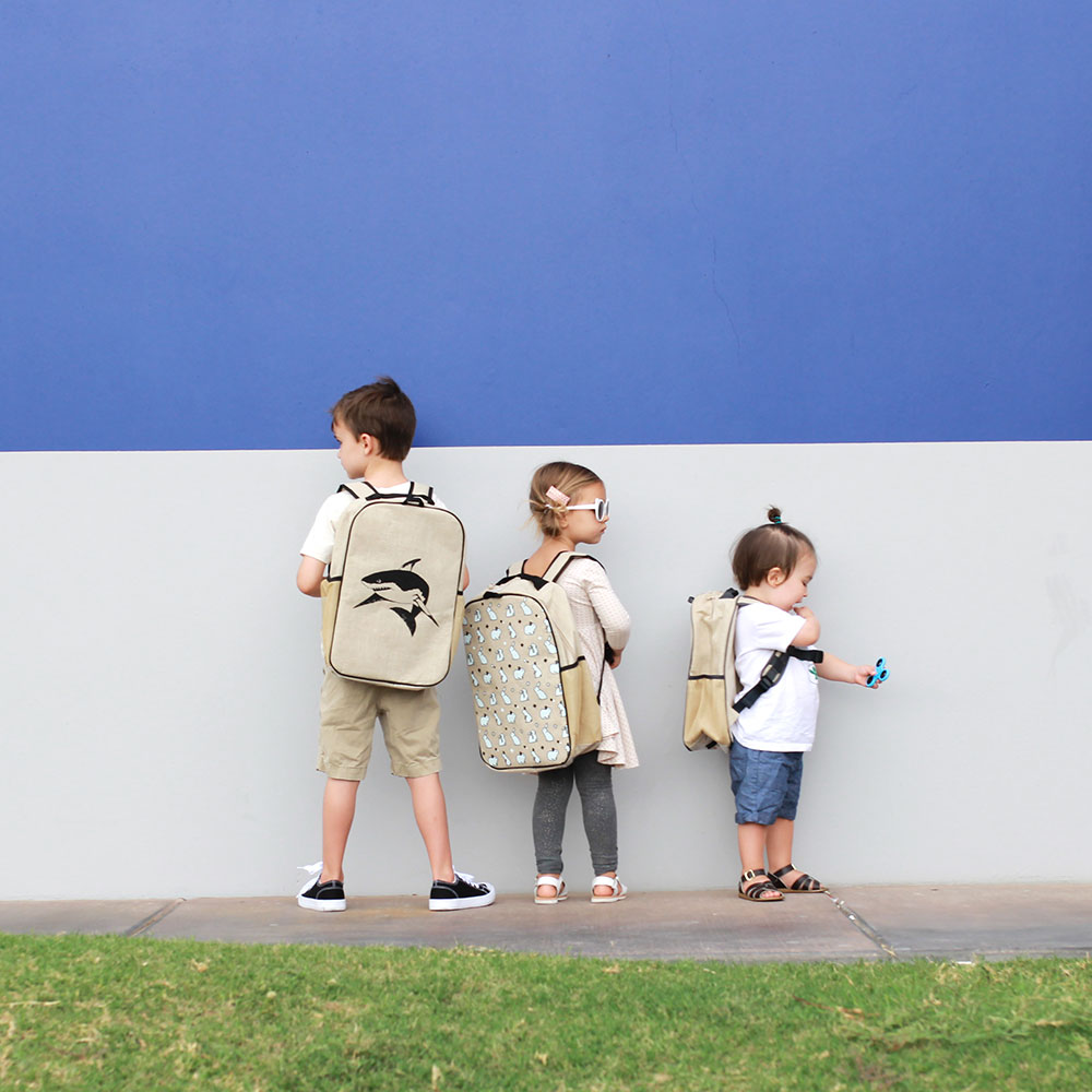 they got their fresh new linen washable backpacks on and ready for back to school | thelovedesignedlife.com