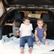 my three little ones checking out the back of this Lexus RX SUV we got to try out! | thelovedesignelife.com