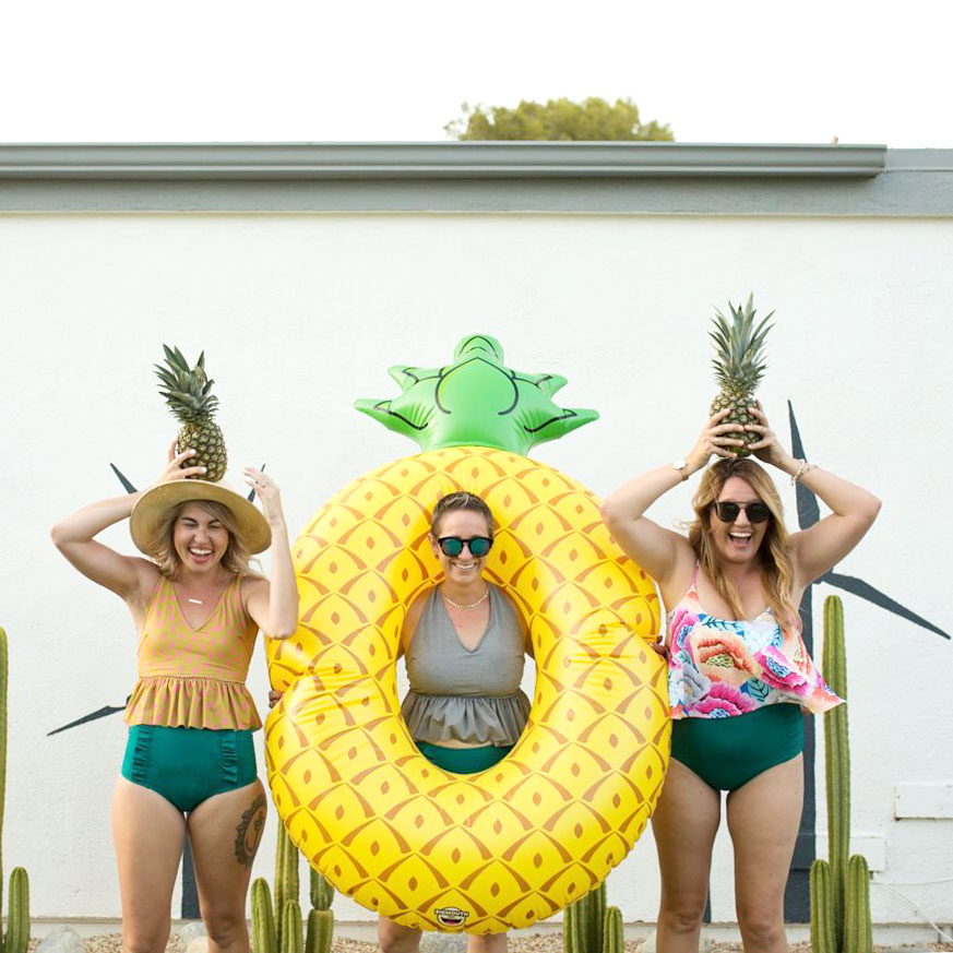 pineapples and pool floats in palm springs girls trip | thelovedesignedlife.com