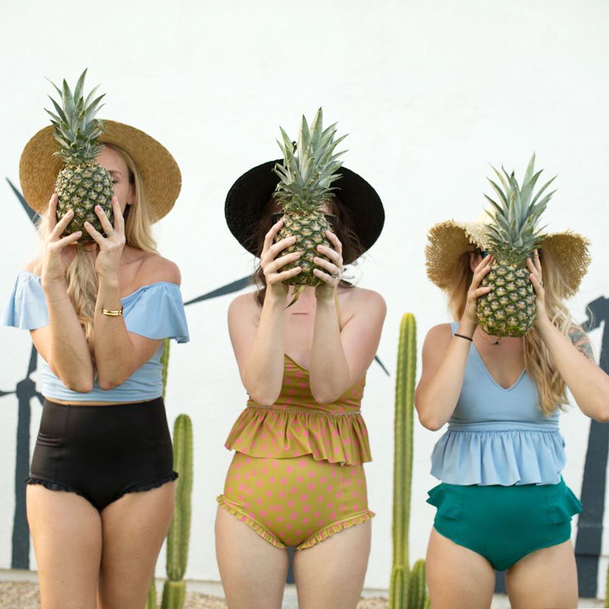 pineapples in palm springs with the cutes kortni jeane swimsuits | thelovedesignedlife.com