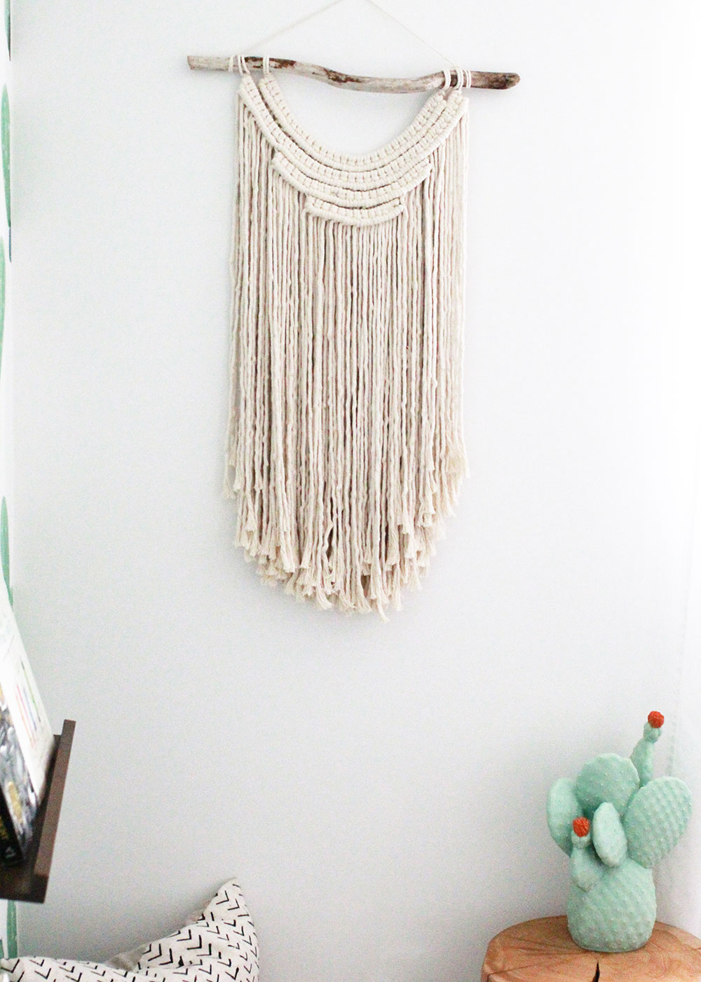 handmade macrame wall hanging for a modern boys' shared room | thelovedesignedlife.com
