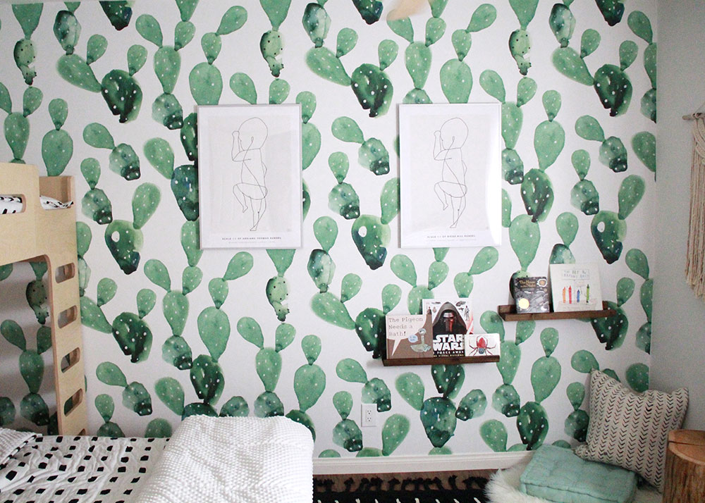 this cactus wallpaper wall is the perfect spot to display my boys' birth posters in their shared room | thelovedesignedlife.com