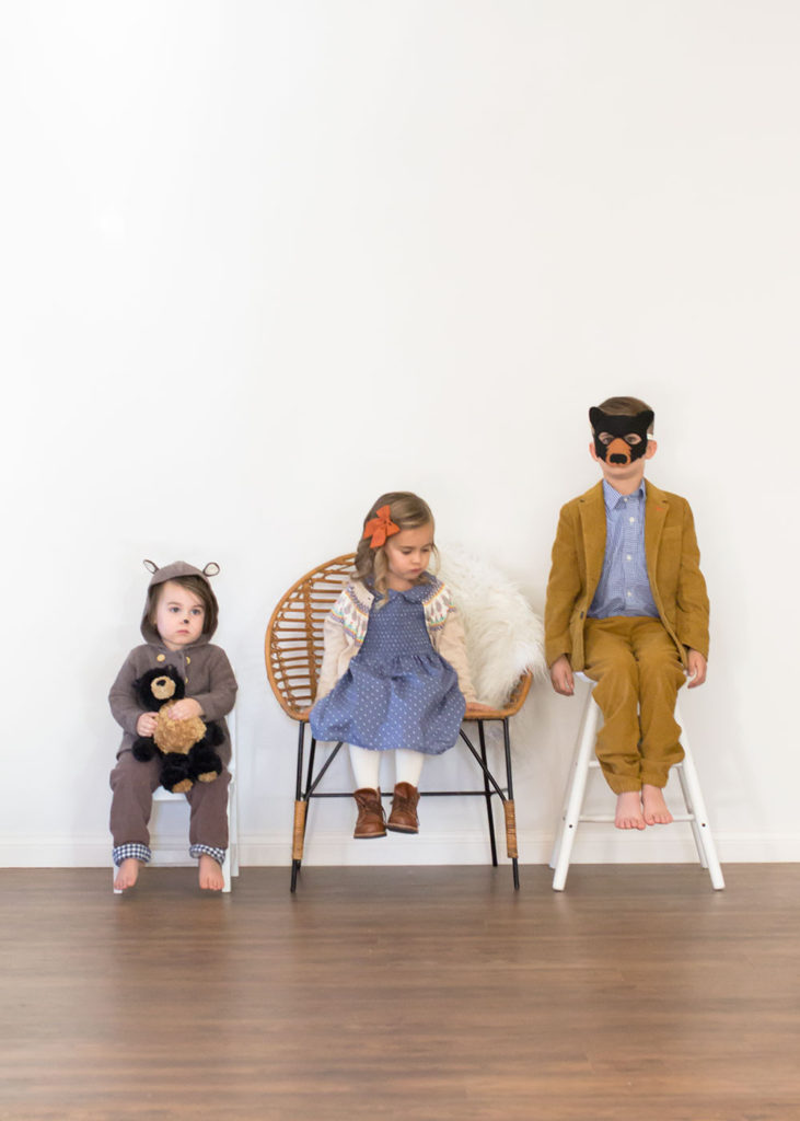 goldilocks and the three bears. fun and easy halloween costume idea with real clothes! | thelovedesignedlife.com