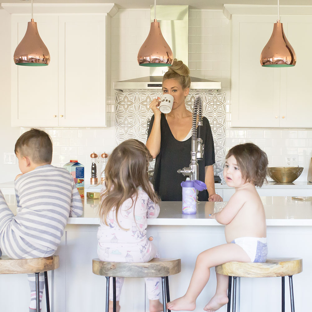 early mornings with my three babes call for lots of coffee. how to balance motherhood and blogging | the mom blog collective | thelovedesignedlife.com