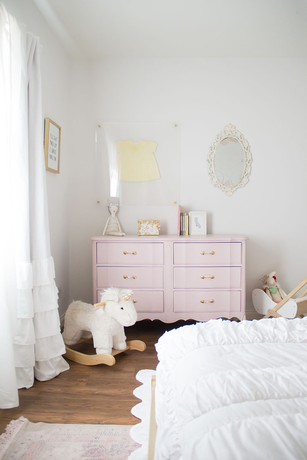 diy pastel pink dresser for a girly girl's new big girl room reveal | thelovedesignedlife.com