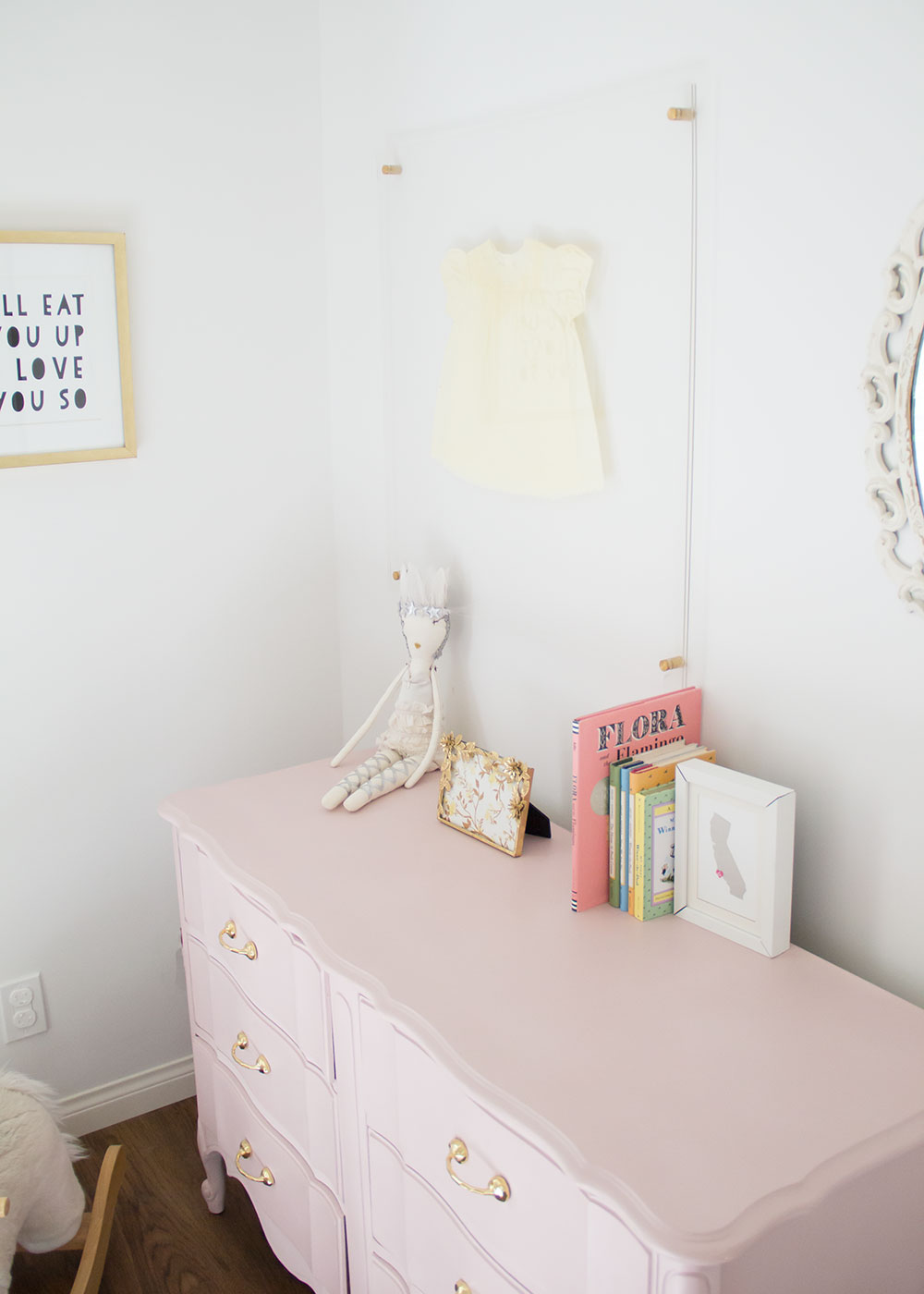 love this girly corner of her new big girl room | thelovedesignedlife.com