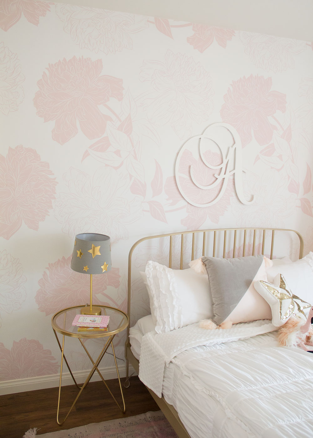 love is in the details of this pretty pink girly big girl room reveal | thelovedesignedlife.com