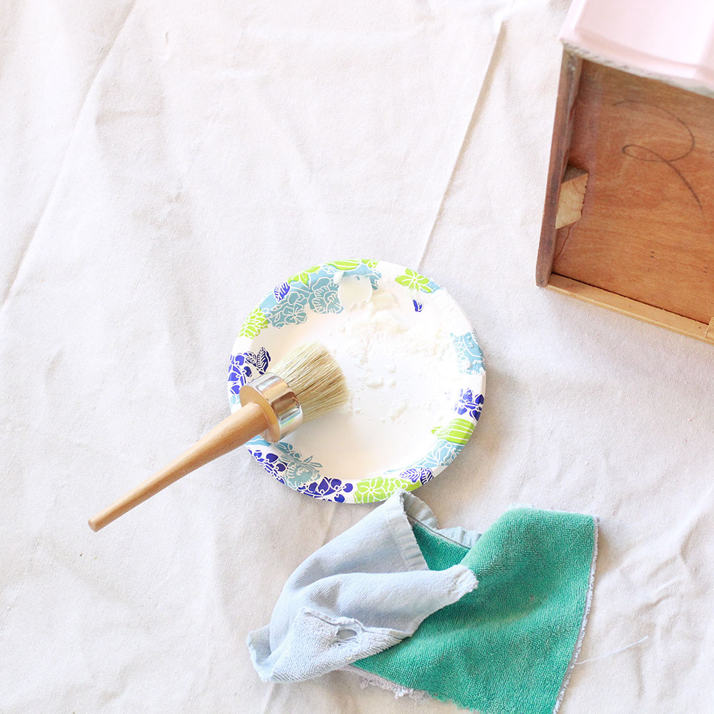 applying annie sloan wax after painting with chalk paint | thelovedesignedlife.com