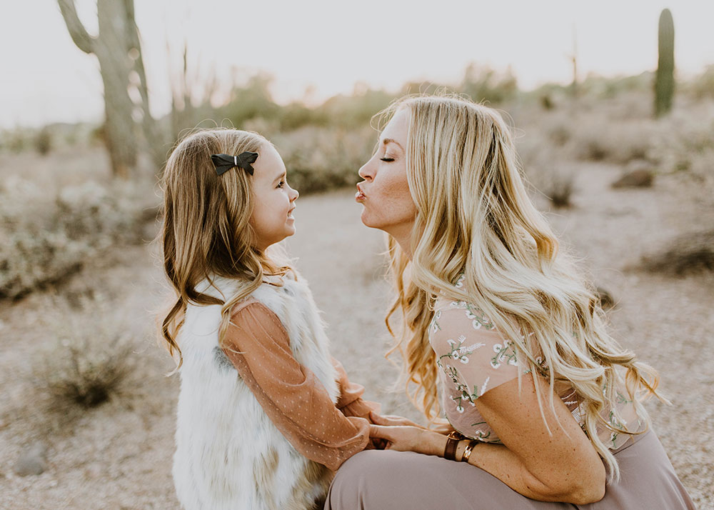 I always have to steal my kisses from you. #familyphotos #motheranddaughter #desertboho | thelovedesignedlife.com