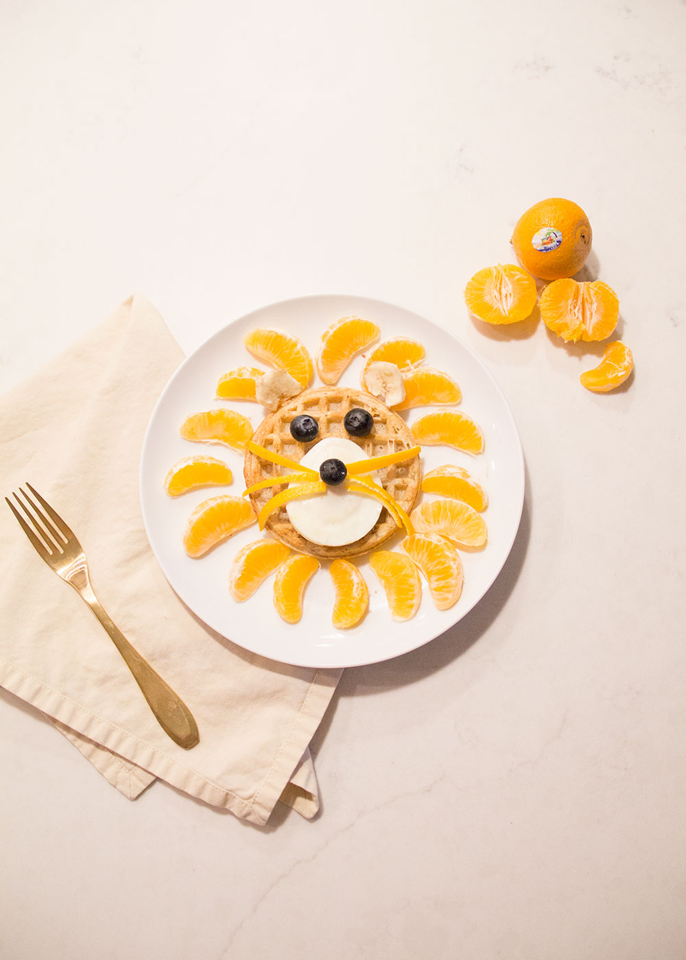 food art lion waffles for the kids' breakfast today | thelovedesignedlife.com #cuties #100daysofsunshine #sponsored
