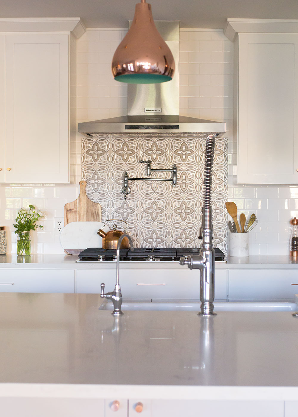 modern white bright bohemian kitchen reveal | thelovedesignedlife.com